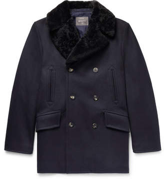 Private White V.C. Double-Breasted Shearling-Trimmed Melton Wool Coat