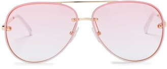 Le Specs Hyperspace Aviator Metal Sunglasses - Womens - Pink White
