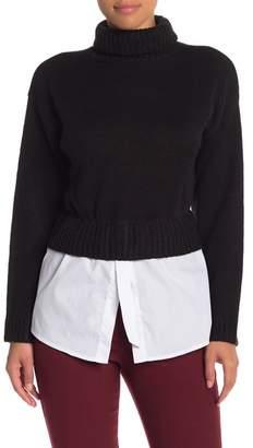 Nicole Miller New York Turtleneck Mixed Media Sweater