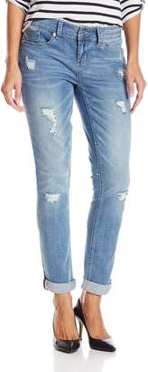 7 For All Mankind Seven7 Women's Rolled Slim Destructed Straight Leg Jean