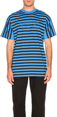Martine Rose Oversized Stripe Tee in Black & Blue | FWRD