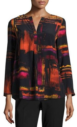 Lafayette 148 New York Samantha 3/4-Sleeve Abstract-Print Silk Blouse, Black Multi $395 thestylecure.com