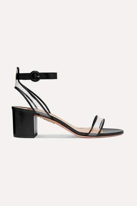 Aquazzura Minimalist 50 Leather And Pvc Sandals - Black
