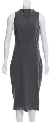 Calvin Klein Collection Wool Midi Dress Grey Wool Midi Dress