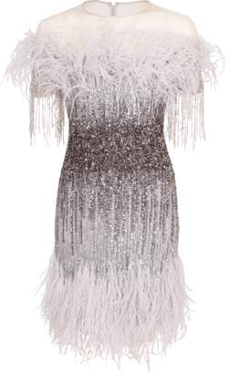 Pamella Roland Ostrich Feather Ombre Sequin Dress