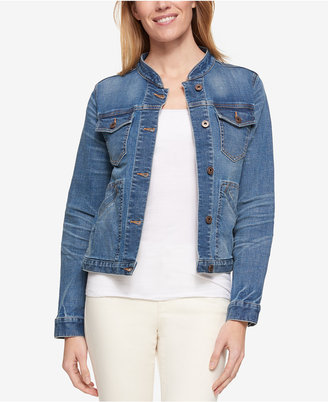 Tommy Hilfiger Band-Collar Denim Jacket, Only at Macy's $99.50 thestylecure.com