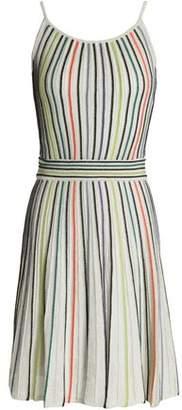 M Missoni Metallic Ribbed Crochet-Knit Mini Dress
