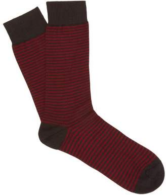 Pantherella Farringdon Striped Cotton Blend Socks - Mens - Charcoal