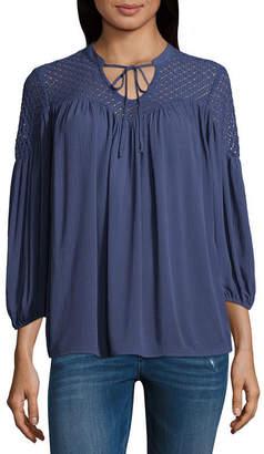 A.N.A Crochet Lace Peasant Top - Tall