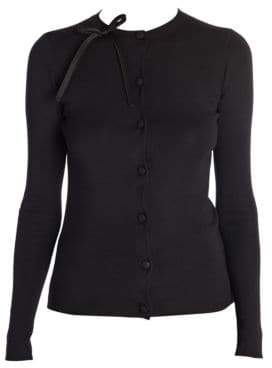 Prada Women's Knit Silk Bow Detail Cardigan - Black - Size 38 (2)