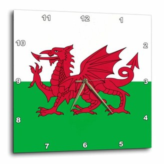 Dragon Optical 3dRose Flag of Wales - Welsh red on white and green - Y Ddraig Goch UK United Kingdom Great Britain, Wall Clock, 13 by 13-inch