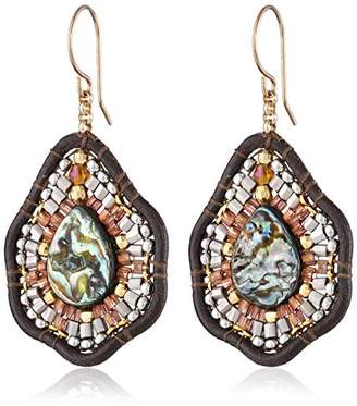 Miguel Ases Leather and Abalone Small Tear Drop Earrings