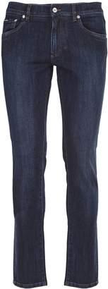 Dolce & Gabbana Capri model five-pocket jeans in dark blue washed stretch denim
