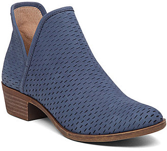 Lucky Brand Bashina Nubuck Leather Stacked Heel Booties $99.99 thestylecure.com