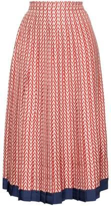 Valentino V print pleated silk midi skirt