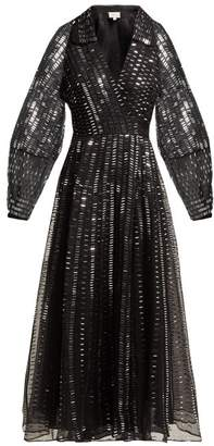 Temperley London Jet Sequinned Silk Organza Wrap Gown - Womens - Black Silver