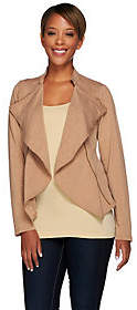 Lisa Rinna Collection Open Front Knit Jacket w/Zipper Detail