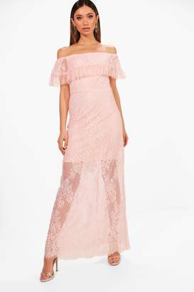 boohoo Scallop Lace Off Shoulder Maxi Dress