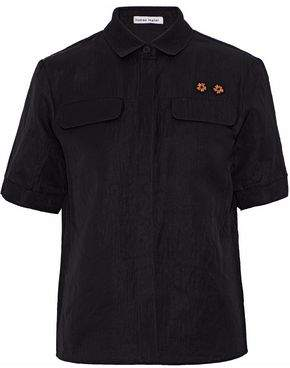 Tomas Maier Mesh-Paneled Floral-Appliquéd Stretch-Knit Polo Shirt
