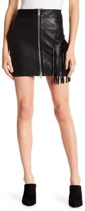Diesel Front Zip Lambskin Leather Fringe Skirt