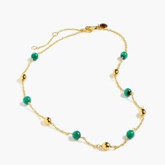 J.Crew Demi-fine 14k gold-plated malachite beaded necklace