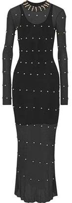Sonia Rykiel Faux Pearl-Embellished Pointelle-Knit Maxi Dress
