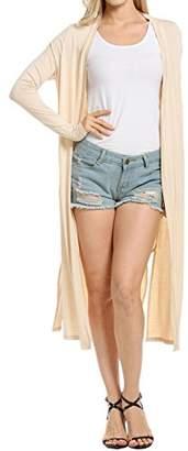 Meaneor Women's Pocket Long Sleeve Basic Soft Knit Cardigan Sweater XL