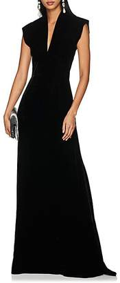 Derek Lam Women's Cap-Sleeve Velvet Gown - Black