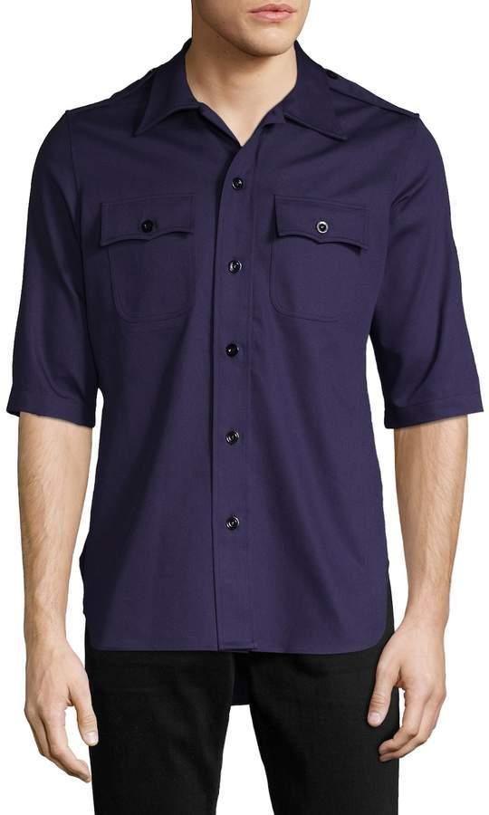 Balenciaga Men's Spread Collar Cotton Shirt