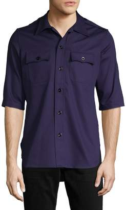 Balenciaga Men's Spread Collar Cotton Shirt