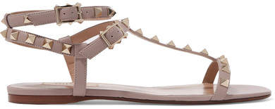 Valentino - Rockstud Leather Sandals - Blush