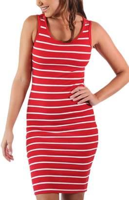 Yacun Womens Maternity Breastfeeding Nursing Dress Stripes Sleeveless M