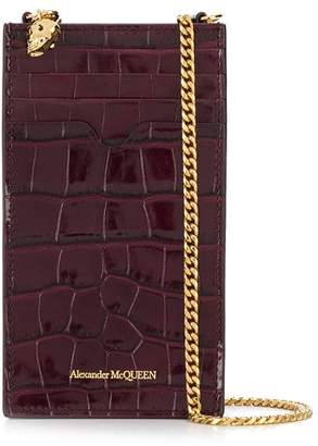 Alexander McQueen crocodile-embossed card holder