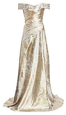 Rene Ruiz Collection Women's Metallic Off-the-Shoulder Gown