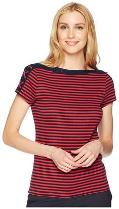 Chaps Lace-Up-Shoulder Striped Top Women's Short Sleeve Pullover