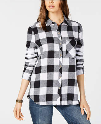 Project 28 Cotton Plaid Striped-Sleeve Shirt