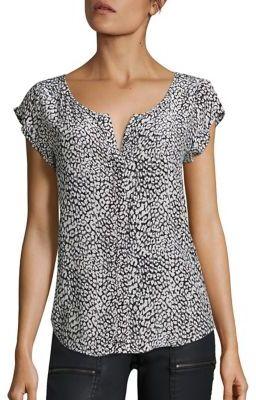 Joie Iva Leopard-Print Silk Top $198 thestylecure.com