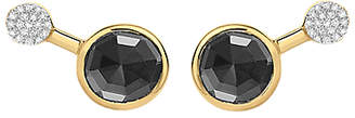 Missoma 18ct Gold Vermeil Cosmic Orbit Round Hematite and Zircon Pave Stud Earrings, Gold/Black
