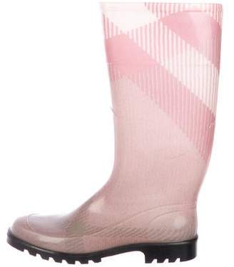 Burberry Rubber Round-Toe Rain Boots