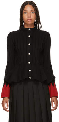 Alexander McQueen Black and Red Peplum Cardigan