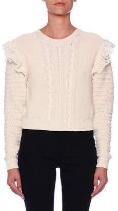 Stella McCartney Crocheted-Ruffled Cotton Crop Sweater