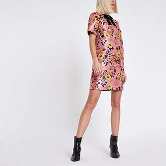 River Island Pink floral jacquard shift dress
