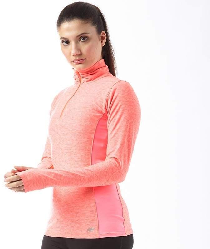 Damen Heathered Space Dye Reflektierend 1/2 Zip Lauftop mit langem Arm Fluo Rosa