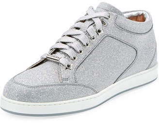 Jimmy Choo Miami Glitter Leather Low-Top Sneakers