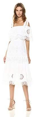 BCBGMAXAZRIA Azria Women's Cold Shoulder Eyelet Midi Dress