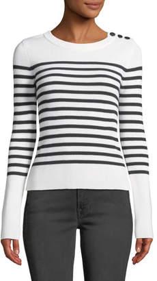 Frame Button-Shoulder Striped Merino Wool Sweater