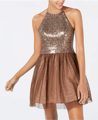 Blondie Nites Juniors' Tie-Neck Sequin Fit & Flare Dress
