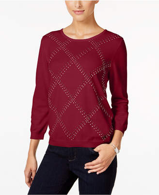 Alfred Dunner Petite Classics Embellished Sweater, Created for Macy's