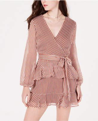 Material Girl Juniors' Striped Ruffled Wrap Dress