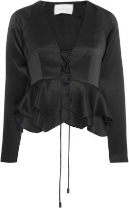 Alexis Reagan Lace-Up Satin Peplum Blouse